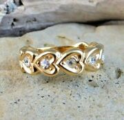 Vintage Gold Plated Heart Clear Cz Rhinestone Eternity Ring Size 6 220