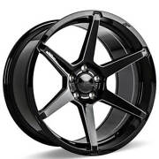 4 22 Staggered Ace Alloy Wheels Aff06 Gloss Black With Milled Accentsb43
