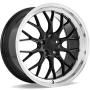 4 19 Staggered Ace Alloy Wheels Aff10 Gloss Piano Black With Diamond Lipb43