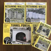Ho Scale Woodland Scenics Lot Tunnel Portal Retaining Walls And Culverts New