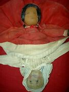 Very Rare Early 1904 Hand Painted Babyland Rag Topsy Turvy Orig. Cloth Doll