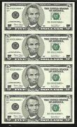 Us 5.00 Frn Uncut Sheet/4 - Star Repl. Notes 2003 - Chicago Fed - Uncirc.