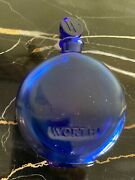 Antique Worth Lalique Dark Blue Glass Perfume Bottle 4 In. 10cm Tall