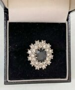 Antique 18ct Gold Sapphire And Diamond Cluster Ring Princess Diana Style