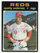 Sparky Anderson Signed 1971 Topps 688 Reds Hof Psa Guarantee