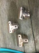 """T Boat Stantion Connectors 7/8"""" Polished Brass Three Parts"""