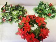 3 Vintage Plastic Flower Candle Ring Christmas Holly Berries Pinecones Greenery