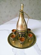 Russian Antique 916 Silver And Enamel Ewer Decanter And Cup And Tray Liquor Set