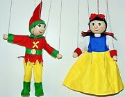 Strings Puppets Beauty And Dwarf Lot 2 Handmade Marionettes Wooden Art Dolls 23 Cm