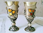 Pair Of Antique Eastern European Russian Motive Silver Goblets With Gemstones