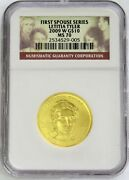 2009 W Gold 10 Letitia Tyler 3240 Minted Spouse 1/2 Oz Coin Ngc Mint State 70