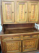 Vintage Parota Solid Wood Hutch / Buffet Handmade Hand Painted And Gold Leaf