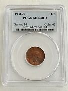 Sale--1931-s- Pcgs Lincoln Wheat Penny In Ms-64-rd, See Coins, Gold And Jewelry