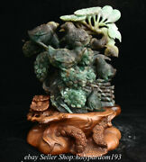 10.4 Chinese Natural Green Dushan Jade Carving Birds Tree Statue Sculpture