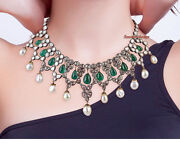 Antique Rose Cut And Polki Diamond 10.52ctw Solid Silver Victorian Design Necklace