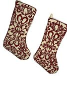 Victorian Christmas Stockings 2 Large Ivory With Red Felt Sewn Design 16 Inch