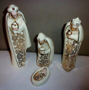 Lenox Lighted 4 Pc.kings Wisemen Baby Jesus Hand Painted Face Christmas Nativity
