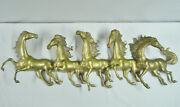 46 Vintage Brass Horse Wall Sculpture Large Hanging 5 Horses Running Wild