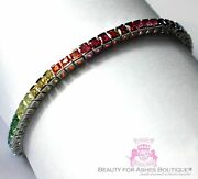 7.5 Sterling Silver Wh.gold Plated 925 Gods Promise Rainbow Cz Tennis Bracelet