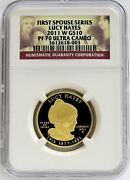 2011 W Gold 10 Lucy Hayes 3,868 Minted Spouse 1/2 Oz Proof Coin Ngc Pf 70 Uc
