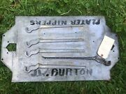 Farriers Blacksmith Tool Collectible. Early Jw Burton Nipper Casting Pattern .