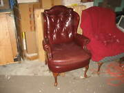Hickory Craft Wing Back Burgundy Red Genuine Leather Chair With Queen Anne Legs