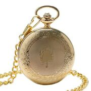 Mens Golden Pocket Watch Necklace Chain Antique Fob Watches Mechanical Hand Wind