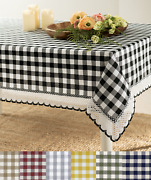 Country Farmhouse Plaid Spill Proof Fabric Tablecloths - Assorted Colors And Sizes
