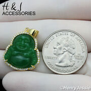 925 Sterling Silver Icy Diamond Bling Green Jade Gold Buddha Pendantagp294