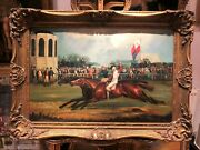 Manner Of George Stubbs Oil Painting Ascot Racecourse Impressionism Gold Frame