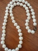 Vintage South Sea Cultured Freshwater Pearl Necklace Strand Sterling Silver