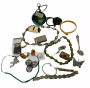 20 Piece Resellers Lot Vintage Estate Junk Drawer Jewelry Sterling Coin Rare 002