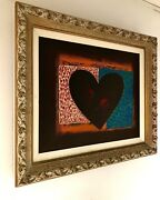 Beautiful Oil On Canvas Attributed To Jim Dine Painting Signed Framed Heart