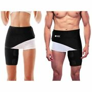 Copper Compression Groin Thigh Sleeve Hip Support Wrap. Adjustable Neoprene Fit