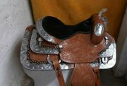 Tan Leather Western Fully Tooled Show Saddle With Silver Corner And Canchos