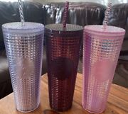 Starbucks 2020 Holiday Studded Grid Cold Cup Tumbler Venti Set Of 3