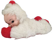 """Rare Vintage Rubber Face Baby Doll 18"""" Snow Santa Christmas Baby In White Suit"""