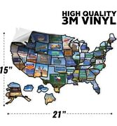 Rv State Sticker Travel Map - 15andrdquo X 21andrdquo - Usa States Visited Decal - Fast Ship
