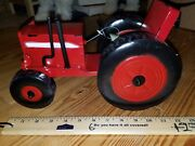 Rustic Antique-style Metal Bright Red Toy Tractor Yard Art Home Garden Decor