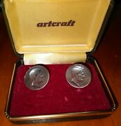 Vintage Pewter President Abraham Lincoln Cufflinks By Artcraft 1960s Collectible