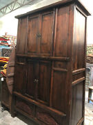 Huge Rustic Armoire With Shelves Old World Artisan Crafted Cabinet With Drawers