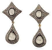 New Year Party Wear 1.68ct Real Antique Rose Cut Diamond Dangle Polki Earrings