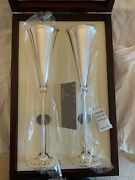 Carrs Of Sheffield - Pair Of Solid Silver Champagne Flutes - Brand New Rrp Andpound2988