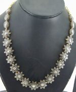 Christmas New Year Party Wear Real Polki Diamond 8.30ct Silver Wedding Necklace