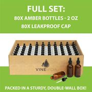 Vinevida 2oz Boston Round Amber Glass Bottles 80 Pack With 80 Glass Droppers