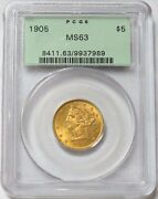 1905 Gold United States 5 Liberty Half Eagle Green Label Pcgs Mint State 63