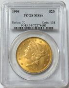 1904 Gold 20 Liberty Head Double Eagle Coin Pcgs Mint State 64