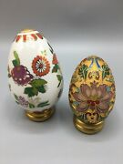 Pair Of Vintage Chinese Cloisonne Eggs W Flowers
