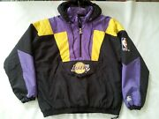 Vintage Starter Authentics Los Angeles Lakers Pullover With Hood Jacket Size L
