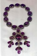 8.60ct Antique Rose Cut Diamond Sterling Engagement Amethyst Necklace Brand New